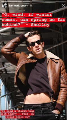Alvin Klein, Mark Ronson, Hubba Hubba, Face Claims, Outfit Of The Day, Leather Jacket, Guys, Celebrities, People