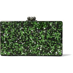Edie Parker - Jean Glittered Acrylic Clutch (€425) ❤ liked on Polyvore featuring bags, handbags, clutches, green, polka dot handbags, green clutches, lucite purse, acrylic purse and green handbags