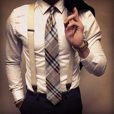 white oxford. slate blue suit. blue/tan/black plaid tie. suspenders. watch. classic. dapper. style.