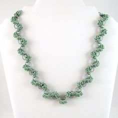Chainmail Necklace Seafoam Green and Bright Aluminum Coiled Weave