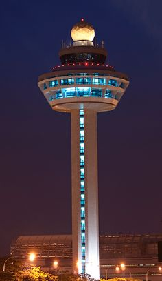 #Singapore Changi International Airport control tower.