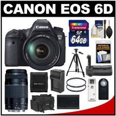 SALE Canon EOS 6D Digital SLR Camera Body with EF 24-105mm L IS USM & 75-300mm III Lens + 64GB Card + Case + Grip + Battery & Charger + Tripod + Filters Kit