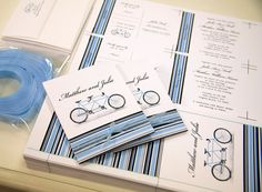 Tandem Bicycle Matchbook Style Wedding Invitations