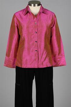 Anu - Dupioni Silk Shirt - Peony
