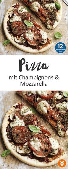 Pizza mit Champignons und Mozzarella | 4 Portionen, 12 SmartPoints/Portion, Weight Watchers