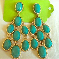 Chandelier Turquoise Gold Earrings Pretty Boho turquoise chandelier earrings Jewelry Earrings