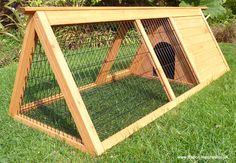 A framed rabbit hutch