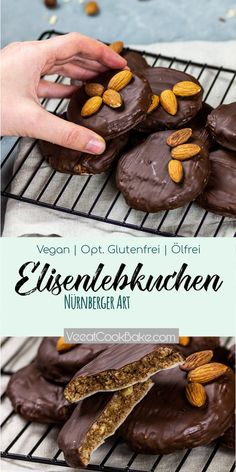 Vegan german gingerbread taste like the original Nuremberg Elisen Lebkuchen. A healthier, juicier alternative to gingerbread. They are prepared without flour and without oil. They make perfect as a gift or present for Christmas. Vegan Gingerbread Cookies, Vegan Christmas Cookies, Gluten Free Gingerbread, Delicious Vegan Recipes, Healthy Dessert Recipes, Cookie Recipes, Cookies Healthy, Biscuits, Homemade Cookies