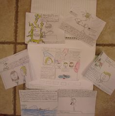 "Here are all seven panels that Ethan designed for his interactive ""TV page"" in his writer's notebook.  Ultimately, he provided a world news channel, a nature channel, a commercial, a late-night comedy special, a commercial, a sports channel, a horror movie, and a scene from the ""Stick Idol"" talent competition. Want to see the images and be able to zoom in? Use this link: http://www.pinterest.com/pin/450852612669432992/"
