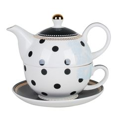 Grace Teaware Porcelain 4-Piece Tea For One (Navy Dots Toile Gold Trimmed)