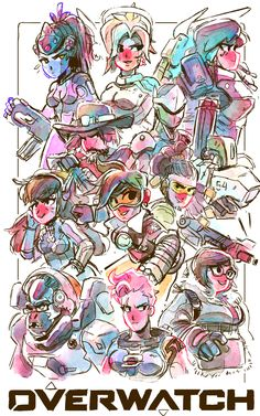 Maysketch-a-day 25. Overwatch! A bunch of the characters I like the design the most. Fanart Illustration / poster! [VISIT MY BLOG!]
