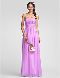 Sheath/Column Sweetheart Floor-length Chiffon Bridesmaid Dre... – USD $ 109.99