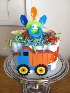 Blue, Green, Orange, Yellow Dump Truck Mini Diaper Cake - Baby Boy Shower Gift, Single Tier. $22.00, via Etsy.