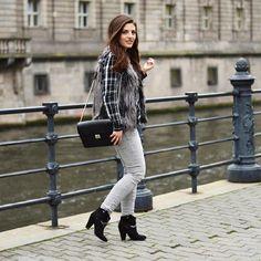 "Discover today's look ""Plaid & Fur"" now on: www.celebritiesandfashionnews.blogspot.de #fashion #blouse #zara #ootd #zarafashion #outfit #plaid #grey #jeans #lookoftheday #streetstyle #styleinspiration #mangofashion #booties #shoes #fallfashion #fashionblogger #accessoires #berlin #luxury #instalook #inspiration #instafashion #bag #fashionista #blogger #hm #whatiwear #fur #vest"