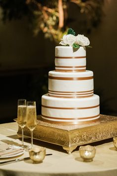 Wedding Cake with Copper Details | photography by http://rebekahwestover.com