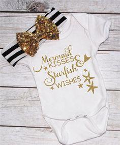 Mermaid Baby- Mermaid kisses and starfish wishes- Cute girl shirt- Baby shower gift- infant - cute toddler shirt- mermaid tshirt- kids top