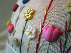 My Spring Tulip Patch Pillow Cottage Style