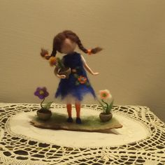 """Needle felted doll with flower Waldorf inspired Wool Fairy """"Small florist"""" Soft sculpture Art doll Collectible doll Home decor Gift"""