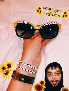 VSCO - Pretty sure me and love post malone more than ourselves💛🌞✨🍯 Pony Bead Bracelets, Kandi Bracelets, Sunnies, Sunglasses, Summer Diy, Summer Essentials, Love Post, My Themes, Photos