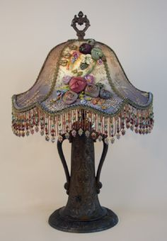 'Nightshades.com' Fabulous Recovered Beaded Shade on Victorian Lamp...