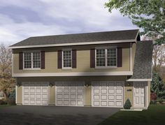When built with a permanent residence, this carriage house is prefect for the maidís quarters or for use as a guest suite. The 3-car garage has direct access to the interior stairs leading to the upper 2 bedroom apartment.  Garage House Plan # 631013.