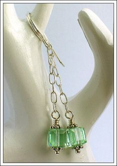 Chrysolite Swarovski cube earrings