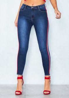20f0ee648 Missyempire - Jess Denim Sport Side Stripe Skinny Jeans Jean Outfits
