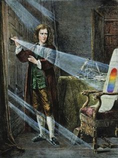 In 1672, Isaac Newton wrote the first explanation of the rainbow, after his experiments dividing white light into the color spectrum with a prism.