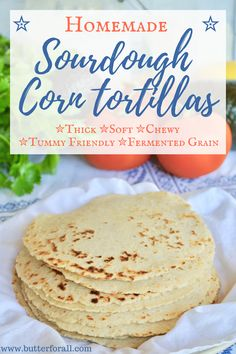 Thick, soft and chewy Sourdough Corn Tortillas. These tortillas are made with tummy friendly, fermented-grain sourdough discard and traditionally soaked masa harina. Makes great tacos, quesadillas, or even mini Mexican pizzas. Get the easy recipe by visit Mexican Food Recipes, Real Food Recipes, Cooking Recipes, Yummy Food, Mexican Dishes, Easy Recipes, Healthy Recipes, Sourdough Recipes, Bread Recipes
