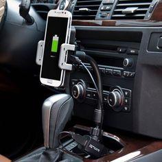 Auto lader en smartphone houder voor in de sigaretten aansteker