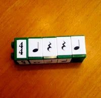 Rhythm Blocks using legos...possibly good to follow popsicle stick rhythms? The boys would love it!