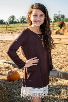 Youth Girls Size: Ever, Ever After Tunic Dress - Chocolate - Girls Boutique Clothes