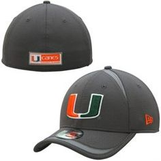 Men s New Era Graphite Miami Hurricanes Reflectaline 39THIRTY Flex Hat  Hurricanes Football a4433cae8d6