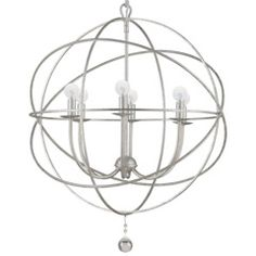Buy the Crystorama Lighting Group English Bronze Direct. Shop for the Crystorama Lighting Group English Bronze Solaris 6 Light Wide Cage Chandelier with Clear Glass Drops and save. Industrial Chandelier, Silver Chandelier, Globe Chandelier, Industrial Lighting, Industrial Design, Transitional Chandeliers, Contemporary Chandelier, Transitional Lighting, Ideas
