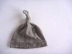 ORGANIC Knot Hat, Black and White Stripe Design