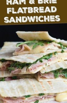 Ham & Brie Toasted Flatbread Sandwiches Rich and decadent, and ridiculously easy to prepare, these ham and brie flatbread sandwiches are ready in less than 10 minutes. Fantastic for a simple lunch, a quick snack or even a light supper. Flatbread Sandwiches, Gourmet Sandwiches, Healthy Sandwiches, Sandwiches For Lunch, Sandwich Recipes, Lunch Recipes, Real Food Recipes, Sandwich Ideas, Party Recipes