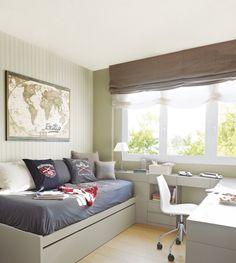 O quarto do adolescente é o mundo dele! Cores claras e frias trazem benefícios a este ambiente. Prepare um lugar específico para o estudo, que tenha conforto e permita organização.