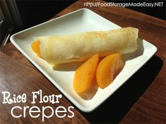 Rice Flour Crepes - using food storage in your recipes (Vegan Rice Flour) Gluten Free Baking, Gluten Free Recipes, Vegetarian Recipes, Healthy Recipes, Diet Recipes, Crepes, Recipes Using Rice Flour, Real Food Recipes, Cooking Recipes