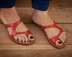 Sandalias de cuero negro negro zapatos de verano por BangiShop