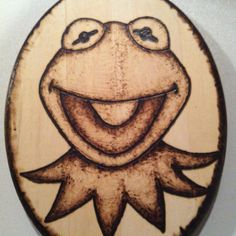 Kermit the Frog wood burning