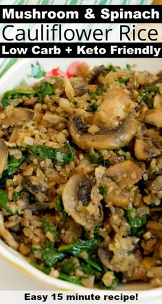 - Keto Vegetarian - Ideas of Keto Vegetarian - Low Carb Mushroom & Spinach Cauliflower Rice Healthy 15 minute recipe! Low Carb Vegetarian Recipes, Vegetarian Lunch, Keto Recipes, Healthy Recipes, Protein Recipes, Smoothie Recipes, Healthy Mushroom Recipes, Vegetarian Cauliflower Recipes, Low Sodium Recipes