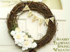 shabby flowers spring wreath