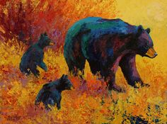 Double Trouble - Black Bear Family Painting by Marion Rose - Double Trouble - Black Bear Family Fine Art Prints and Posters for Sale