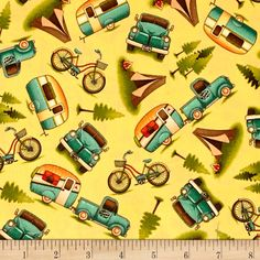 Outdoor Adventure Camping Motifs Toss Yellow from @fabricdotcom  Designed by Angela Anderson for Quilting Treasures, this cotton print collection is perfect for the outdoorsy hiker, girl scout, boy scout, or avid camper! Use for quilting, apparel, and home decor accents. Colors include yellow, teal, orange, red, brown, and black.