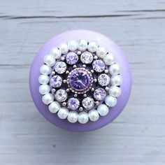 Purple Wooden Drawer Knob with Crystals and Pearls CUSTOMIZE | DaRosaCreations - Furniture on ArtFire