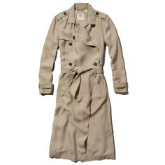 Abercrombie & Fitch Lucy Trench Coat (€74) ❤ liked on Polyvore featuring outerwear, coats, jackets, outerware, khaki, double-breasted coat, lightweight trench coat, long brown coat, belted coat and long coat