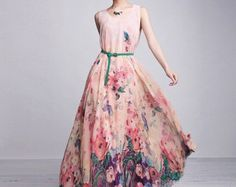 Bohemian Pink Floral Print Chiffon Casual A-line Maxi Dress Full Pleated Skirt Beach Wedding Bridesmaid Event Holiday Prom Party Ball Gown