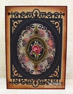 Heidi Blankenship: Embellished Dreams- -ButterBeeScraps - Rose Cameo Card - 6/25/14 (Spellbinders: S6-001 5 x 7 Matting Basics A, S6-010 5 x 7 Heirloom Legacy, S4-425 Elegant Ovals)