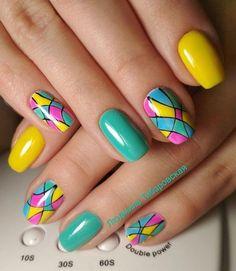 30 ideas which nail polish to choose - My Nails Creative Nail Designs, Creative Nails, Nail Art Designs, Hot Nails, Swag Nails, Yellow Nail Art, Rainbow Nails, Cute Acrylic Nails, Stylish Nails