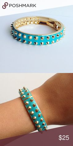Turquoise Studded Hinge Bracelet! NWT! A beautiful color with glamorous gold studs! It has a hinge opening and fits any wrist size! I have two so I'd be happy to sell both together :) Jewelry Bracelets